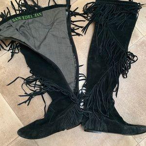 Suede Sam Edelman knee high tassel boots